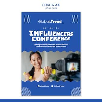 Modèle d'affiche de conférence d'influenceurs