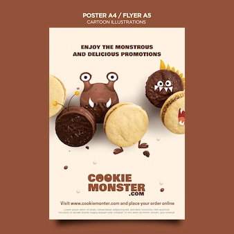 Modèle d'affiche de cookie d'illustrations de dessin animé