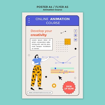 Modèle d'affiche de cours d'animation en ligne