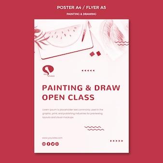 Modèle d'affiche de cours de dessin et de peinture