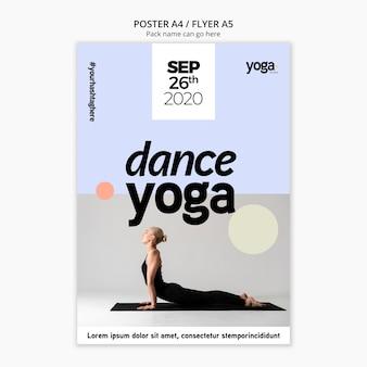 Modèle d'affiche de cours de yoga de danse