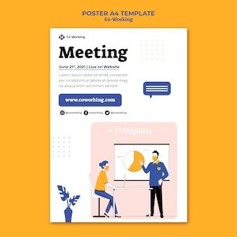 Modèle d'affiche de coworking créatif
