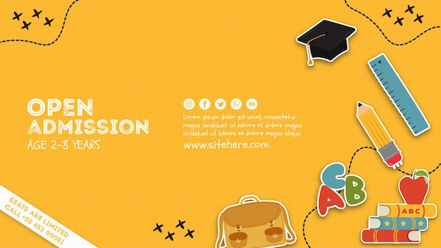 Modèle d'affiche créative d'admission ouverte