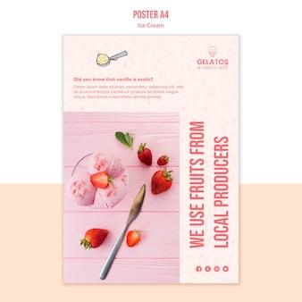 Modèle d'affiche de crème glacée aux fraises