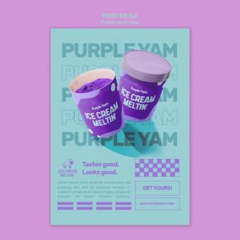 Modèle d'affiche de crème glacée pastel avec photo