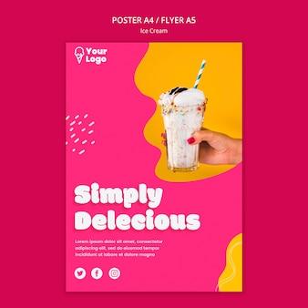Modèle d'affiche de crème glacée tout simplement délicieux