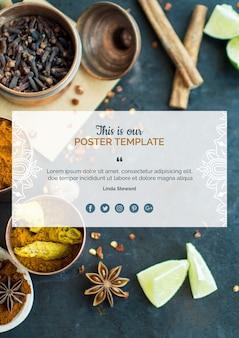 Modèle d'affiche de cuisine indienne moderne