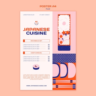Modèle d'affiche de cuisine japonaise