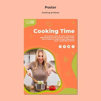Modèle d'affiche cuisine maison à la maison