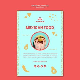 Modèle d'affiche de cuisine mexicaine avec photo
