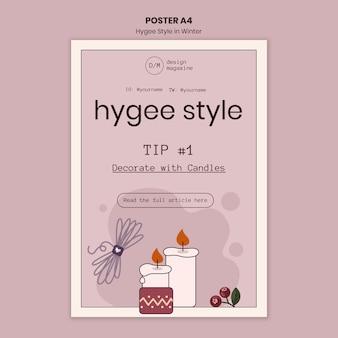 Modèle d'affiche de décoration de style hygge