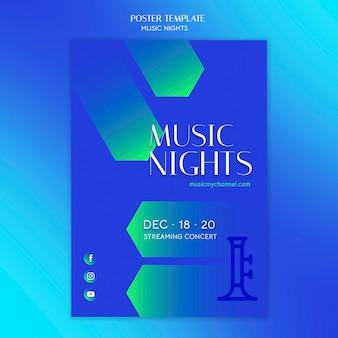 Modèle d'affiche dégradé vertical pour le festival des nuits de musique