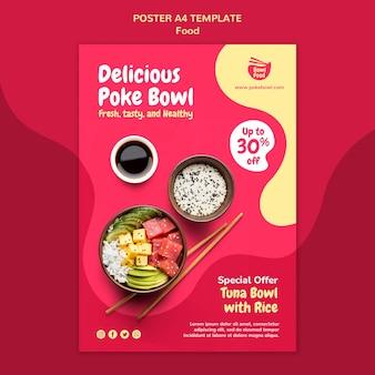 Modèle d'affiche de délicieux bol poke