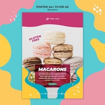 Modèle d'affiche de délicieux macarons sucrés