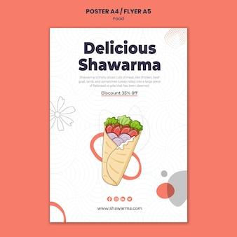 Modèle d'affiche de délicieux shawarma