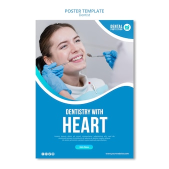 Modèle d'affiche dentisterie avec coeur