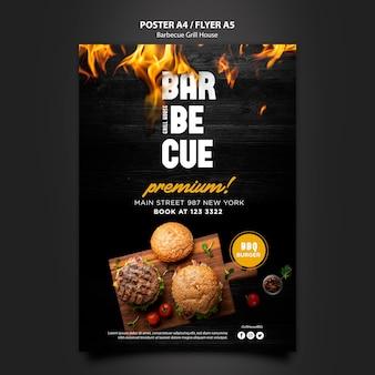 Modèle d'affiche avec design barbecue
