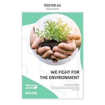 Modèle d'affiche avec design d'environnement