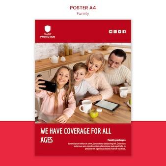 Modèle d'affiche avec un design familial