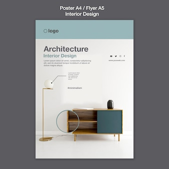 Modèle d'affiche de design d'intérieur