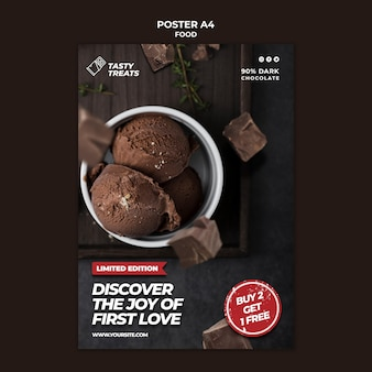 Modèle d'affiche de dessert au chocolat