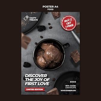 Modèle d'affiche de dessert savoureux