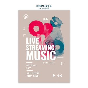 Modèle d'affiche de diffusion de musique en direct