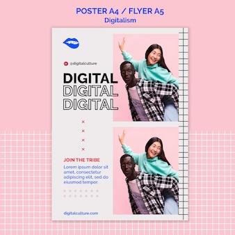 Modèle d'affiche de digitalisme d'amis heureux