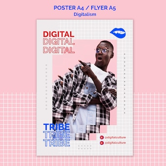 Modèle d'affiche de digitalisme homme surpris