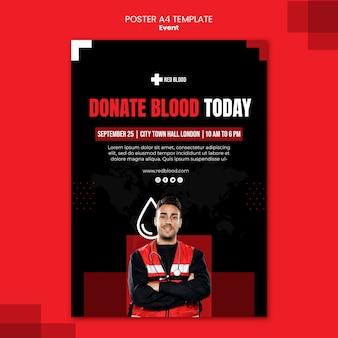 Modèle d'affiche de don de sang aujourd'hui