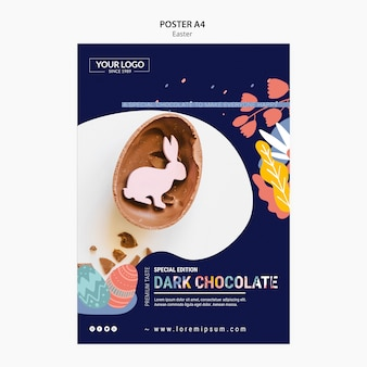 Modèle d'affiche avec du chocolat noir pour pâques
