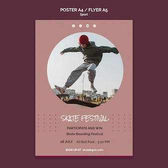 Modèle d'affiche du festival de skate