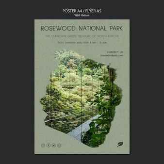 Modèle d'affiche du parc national en bois de rose avec des arbres