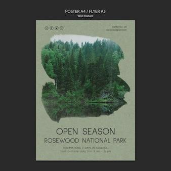 Modèle d'affiche du parc national de palissandre avec arbres et lac