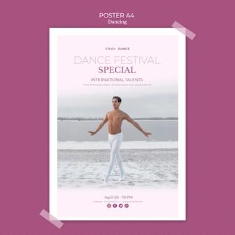 Modèle d'affiche de l'école de danse avec l'homme qui danse