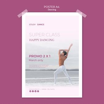 Modèle d'affiche d'école de danse super classe