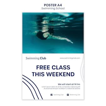 Modèle d'affiche d'école de natation