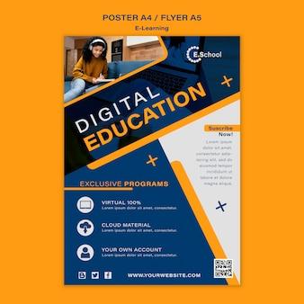 Modèle d'affiche d'éducation numérique