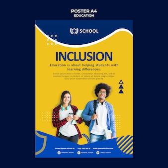 Modèle d'affiche d'éducation avec photo