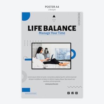Modèle d'affiche de l'équilibre de la vie