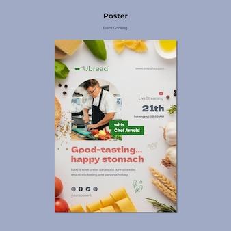 Modèle d'affiche d'événement de cuisine en direct