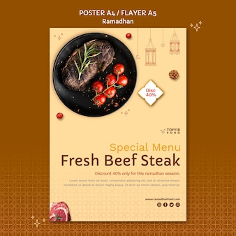 Modèle d'affiche d'événement de ramadan avec des photos de nourriture