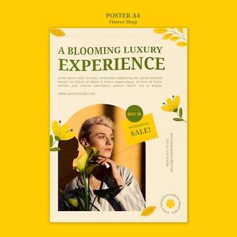 Modèle d'affiche d'expérience de luxe en fleurs