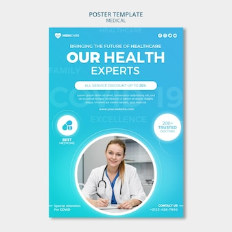 Modèle d'affiche d'experts en santé