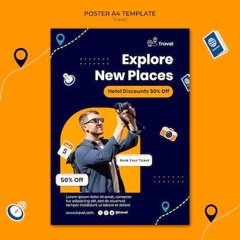 Modèle d'affiche explorer de nouveaux lieux