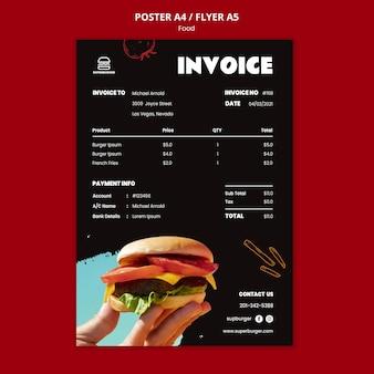 Modèle d'affiche de facture délicieux burger