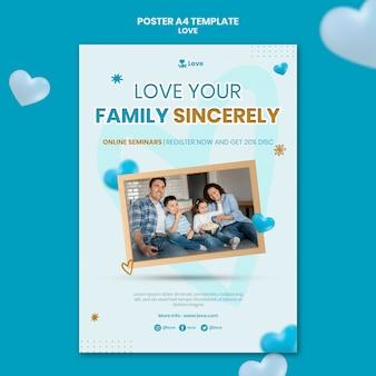 Modèle d'affiche de famille heureuse avec enfant
