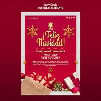 Modèle d'affiche feliz navidad avec des cadeaux