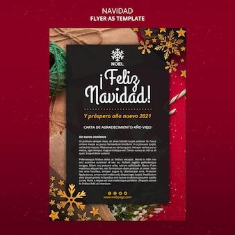 Modèle d'affiche feliz navidad avec photo