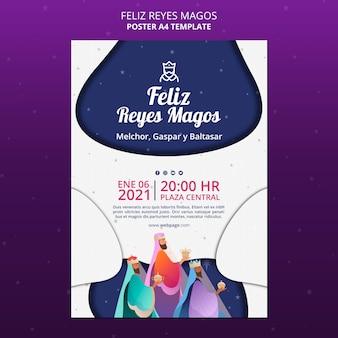 Modèle d'affiche feliz reyes magos